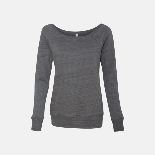 Marble Fleece Dark Grey (heather) Spräckliga damtröjor med vid halsöppning - med reklamtryck