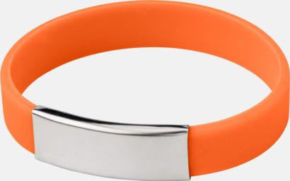 Orange Silikonarmband med metallplatta - med reklamtryck