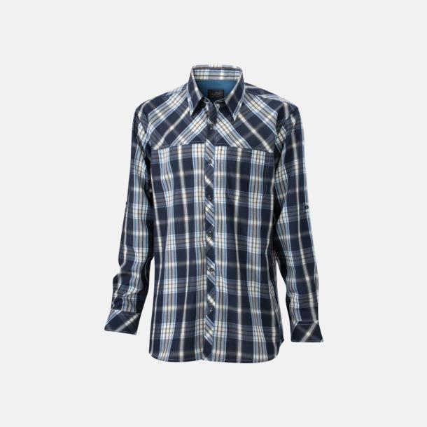 Marinblå/Blå (dam) Rutiga dam- och herrskjortor med reklamtryck