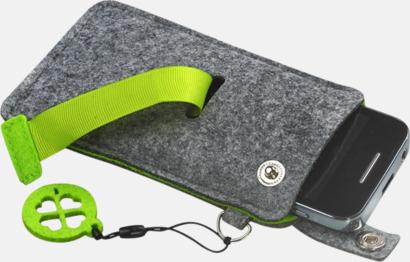 Grå/Limegrön (liten 3) Mobilfodral i filt med reklamtryck