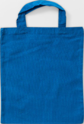 Blå Liten bomullskasse med korta handtag