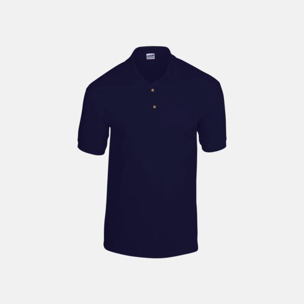 Marinblå Billiga herrpikétröjor med tryck