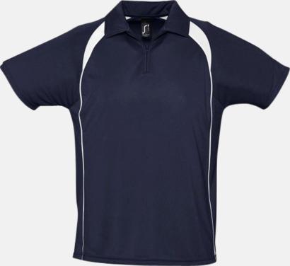 French Navy/Vit Färgglada pikétröjor i funktionsmaterial med tryck
