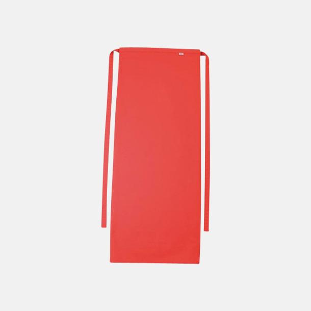 Röd Långa förkläden i många färger med reklamtryck
