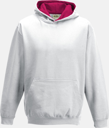 Arctic White/Hot Pink Varsity Hoodie Contrast i barnmodell med reklamtryck