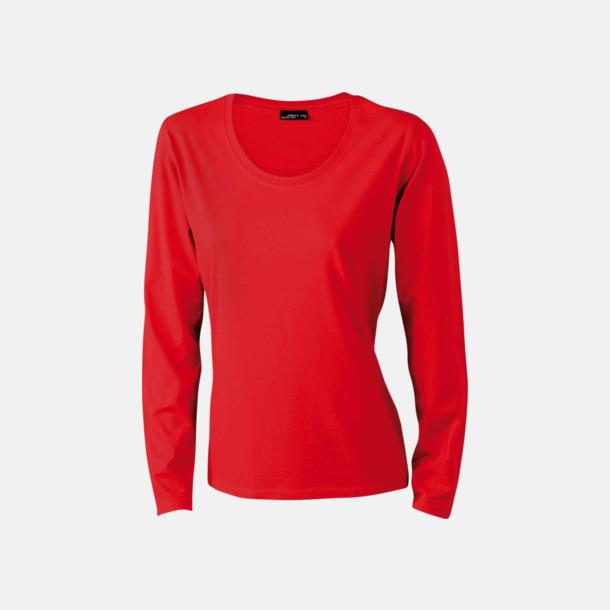 Röd (dam) Långärmade t-shirts i herr-, dam- & barnmodell med reklamtryck