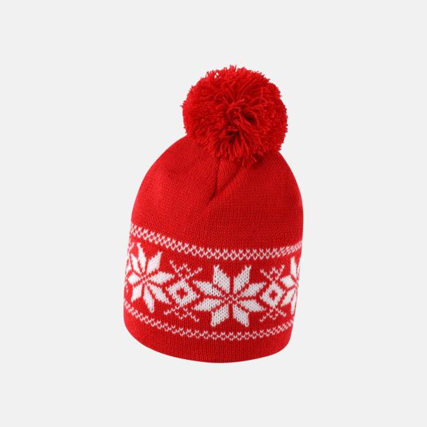 Röd / Vit Vintermönstrade mössor med reklambrodyr