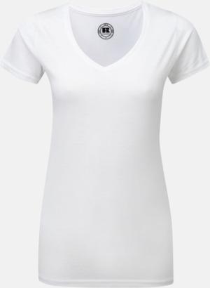 Vit (v-neck) Sublimerings t-shirts med feminin passform - med reklamtryck
