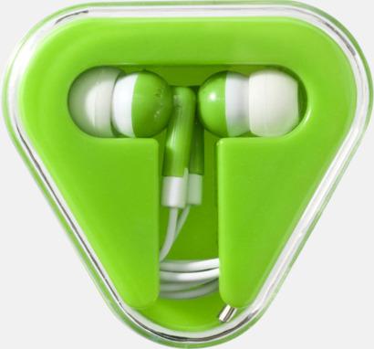 Limegrön In-ear hörlurar i praktisk förpackning