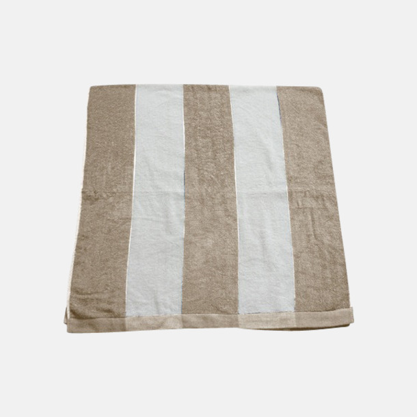 Sand/Vit Randiga terry handdukar med reklambrodyr