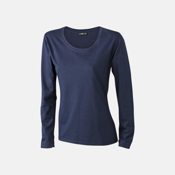 Marinblå (dam) Långärmade t-shirts i herr-, dam- & barnmodell med reklamtryck