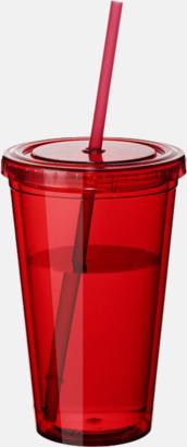 Röd (transparent) Plastmuggar med lock och sugrör - med tryck