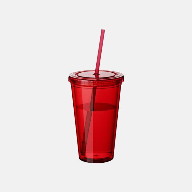 Röd (transparent) Plastmuggar med lock och sugrör - med reklamtryck