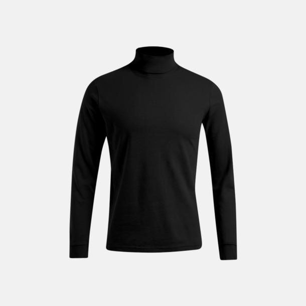 Svart Långärmad t-shirt med turtle neck - med tryck