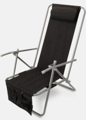 Svart (de luxe) Lyxig brassestol med kudde och väska med eget reklamtryck