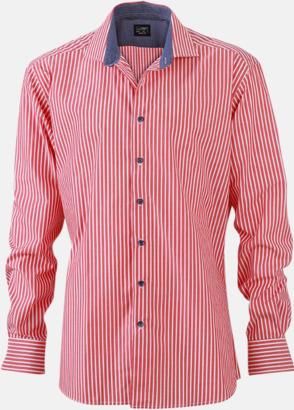 Röd-Vit/Marinblå (herr) Blusar & skjortor i randigt mönster med reklamtryck
