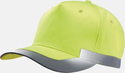Fluorescerande Gul Reflexkeps i fluorescerande färg med reklambrodyr
