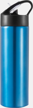 Blå / Svart Vattenflaskor av stål med eget tryck