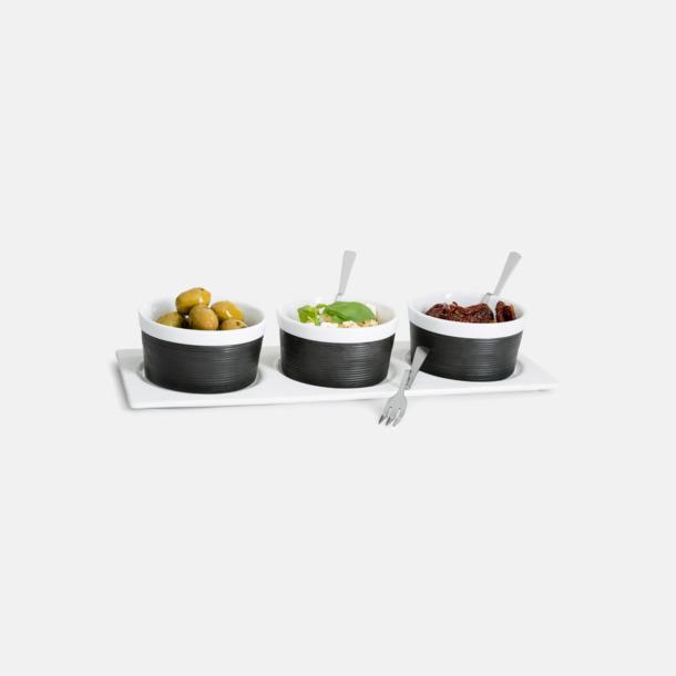 Vit / Svart Skålset av finaste porslin med bricka och gafflar