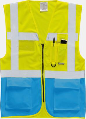 Hi-Vis Yellow/Royal Varselvästar med 2-färgade modeller - med reklamtryck
