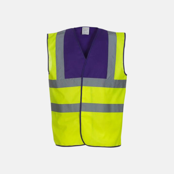 Hi-Vis Yellow/Lila Färgglada säkerhetsvästar med reklamtryck