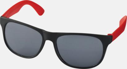 Röd Klassiska solglasögon med bågar i kontrasterande färg - med tryck