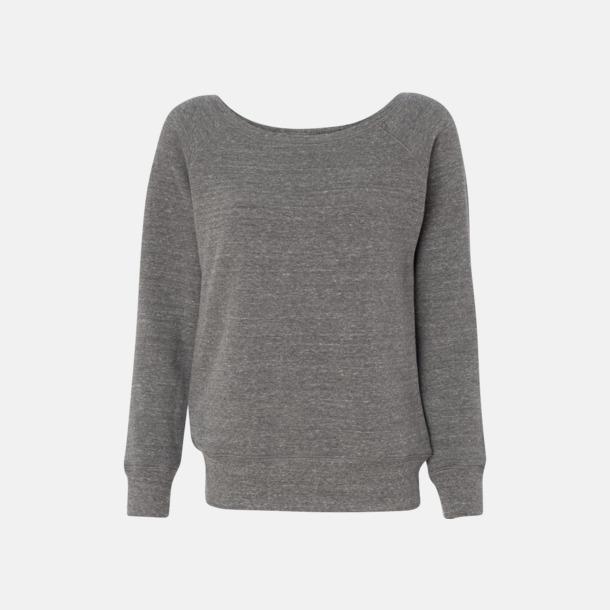 Grey Triblend (heather) Spräckliga damtröjor med vid halsöppning - med reklamtryck