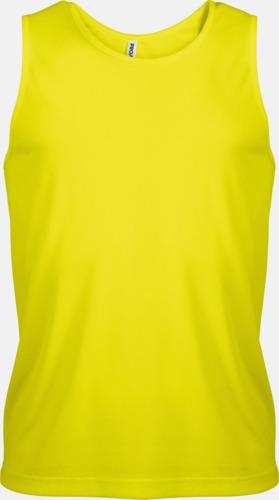 Floucerande Yellow Herrlinnen av funktionsmaterial med reklamtryck