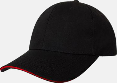 Svart / Röd Denimkepsar i två varianter med reklambrodyr