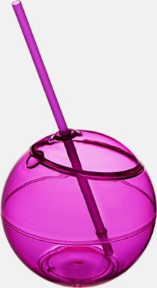 Rosa Klotformad mugg med sugrör - med tryck