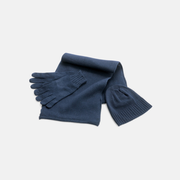 Marinblå Set med mössa, vantar och halsduk med reklambrodyr