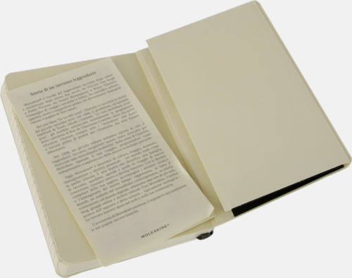Innerficka Moleskines mjuka anteckningsböcker i mindre format (ca A6) - med reklamtryck