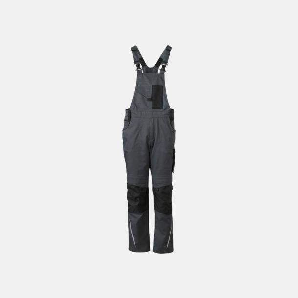 Carbon/svart Arbets hängselbyxor med reklamtryck