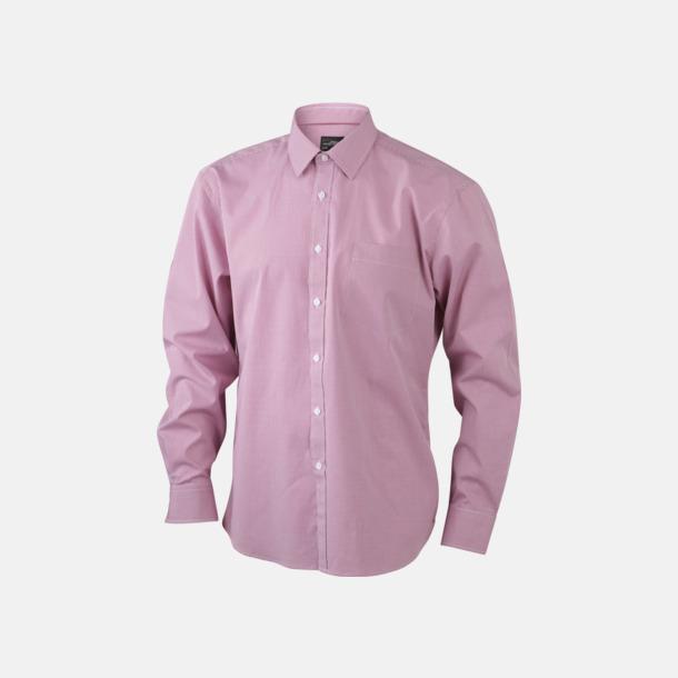 Vit/Röd (herr) Bomullslusar & -skjortor med fina rutor - med reklamtryck