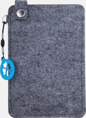 Grå/Blå (stor 4) Mobilfodral i filt med reklamtryck