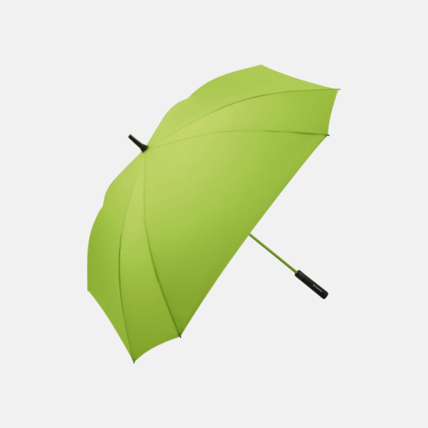 Limegrön Fyrkantiga paraplyer med färgade skaft - med reklamtryck