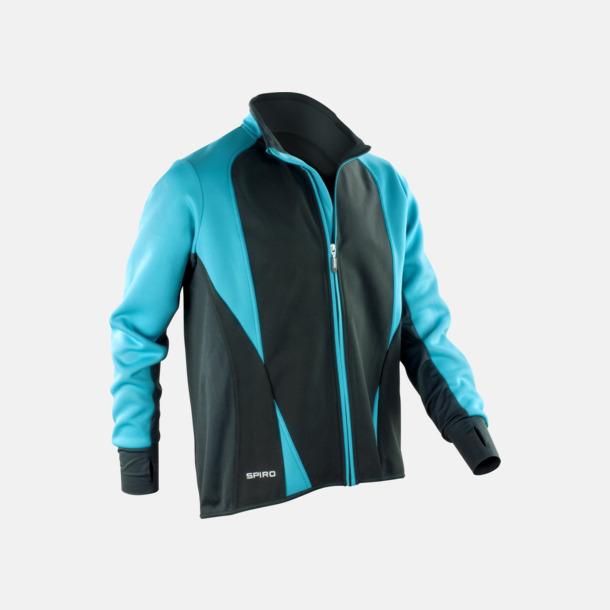 Aqua/Svart (dam) Funktions softshell jackor i herr- & dammodell med reklamtryck