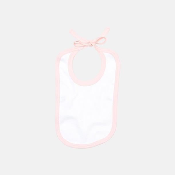 Vit/Powder Pink Haklappar i bomull med kontrasterande färgram - med reklamtryck