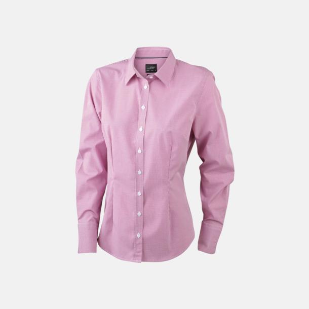 Vit/Röd (dam) Bomullslusar & -skjortor med fina rutor - med reklamtryck