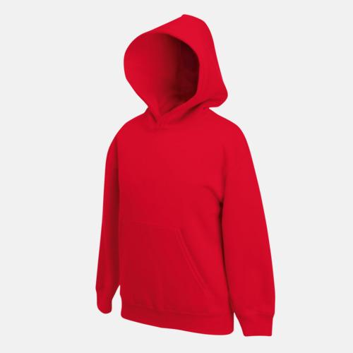Röd Tjocktröjor med huva och framficka för barn