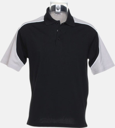 Svart/Silver Grey (solid)/Vit Sportiga pikétröjor för i herrmodell - med reklamtryck eller -brodyr