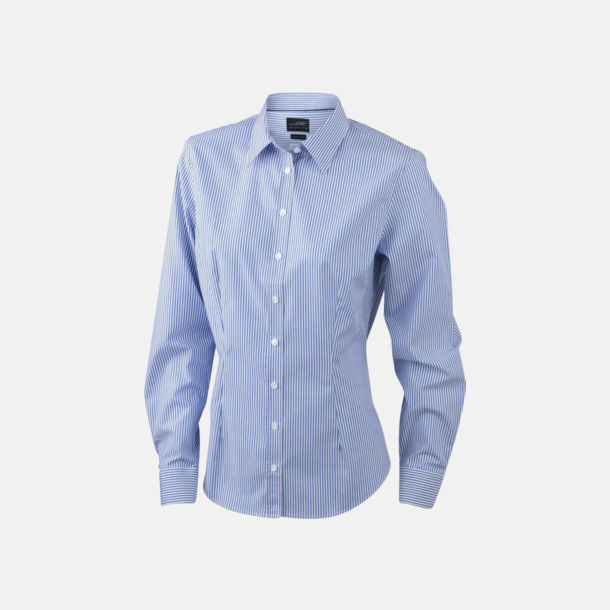 Vit/Blå (dam) Bomullsblusar & -skjortor med fina ränder - med reklamtryck