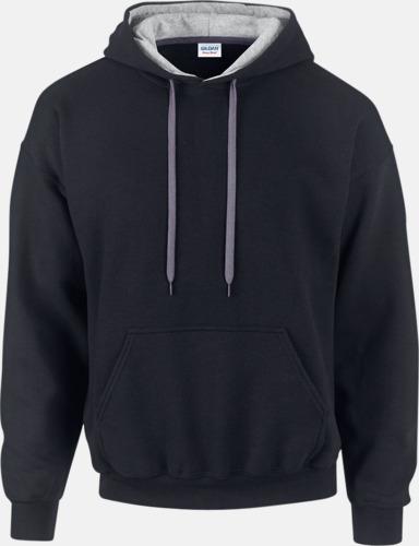Svart/Sport Grey (Heather) Tvåfärgade huvtröjor med reklamtryck