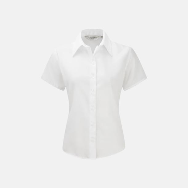 Vit (kortärmad) Strykfri damskjorta med reklamlogo