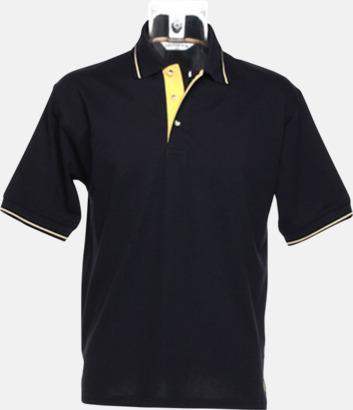 Marinblå/Sun Yellow (herr) Tvåfärgade pikétröjor i herr- och dammodell med reklamtryck