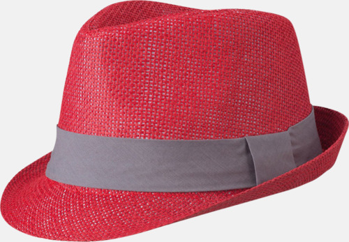 Röd/Mörkgrå Fina sommarhattar i många färger med reklambrodyr