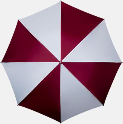Vinröd / Vit Golfparaplyer med ergonomiska trähandtag