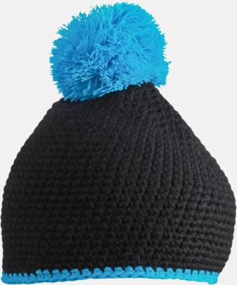 Svart/Turkos Toppluvor med rand och toft i annan färg - med bordyr