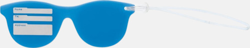 Baksida (blå) Brickor formade som solglasögon med reklamtryck