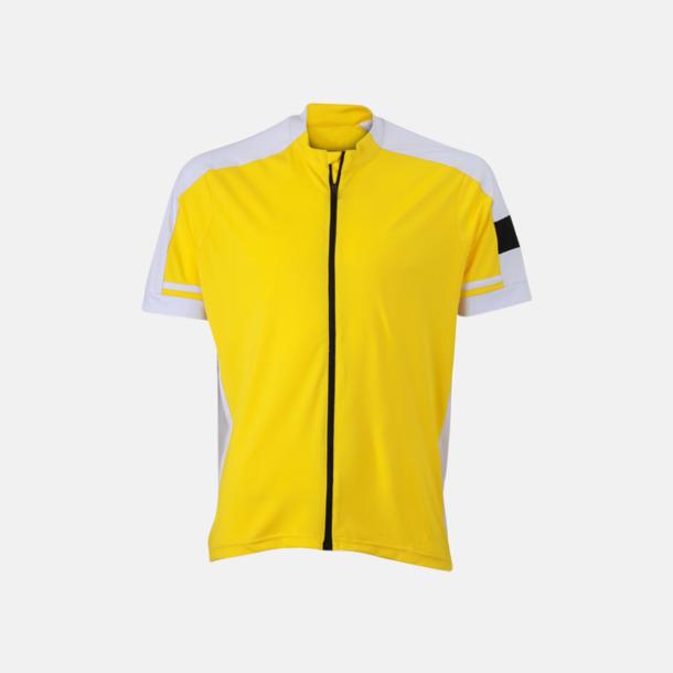 Sun Yellow (herr) Herr- och damcykeltröjor med hel dragkedja - med reklamtryck
